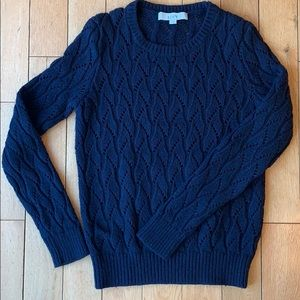 LOFT Navy Cable Knit Sweater